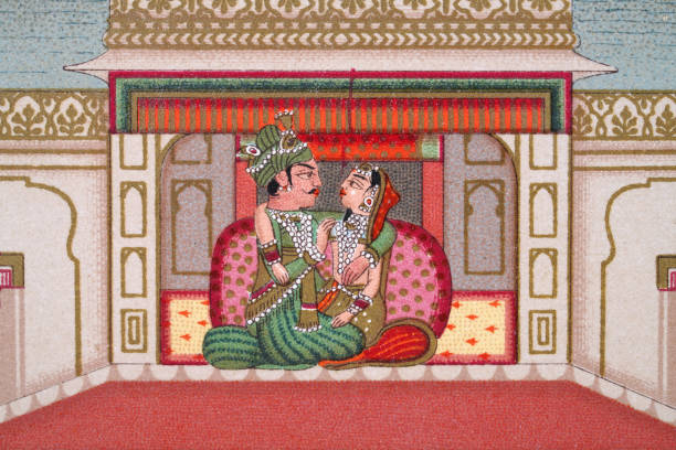 Indian couple in the Palace of Delights, Mughal India vector art illustration