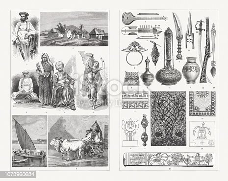 istock Indian culture, people and culture objects, wood engravings, published 1897 1073960634