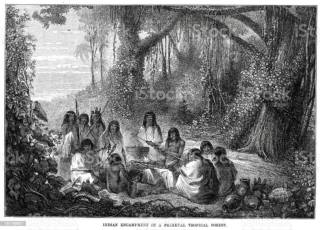 Indian Encampment - ilustração de arte em vetor