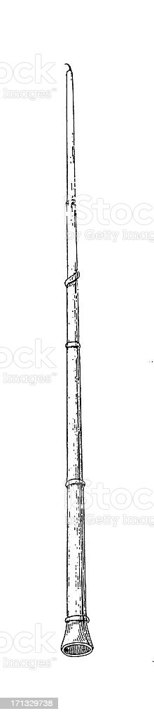 Indian Flute | Antique Musical Illustrations royalty-free stock vector art