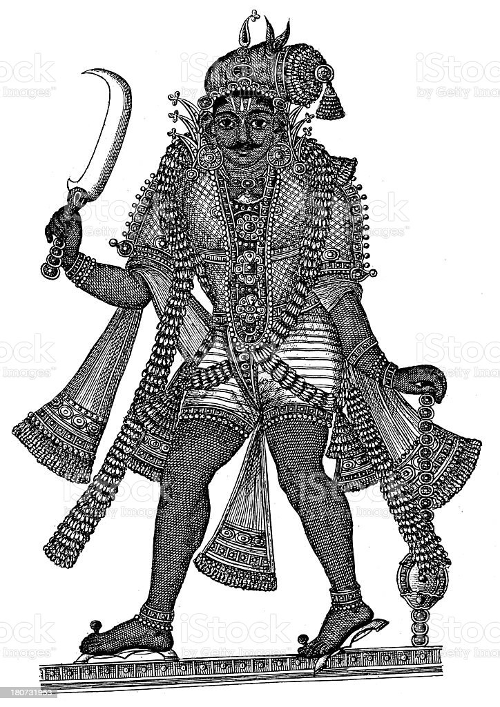 Indian god (antique wood engraving) royalty-free indian god stock vector art & more images of 19th century