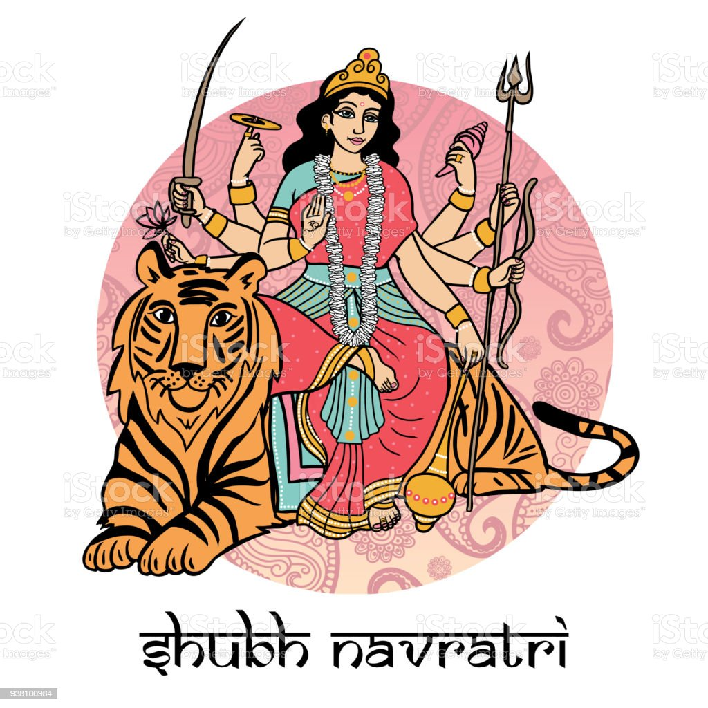 Indische Göttin Durga Auf Einem Tiger Sitzend Stock Vektor Art Und