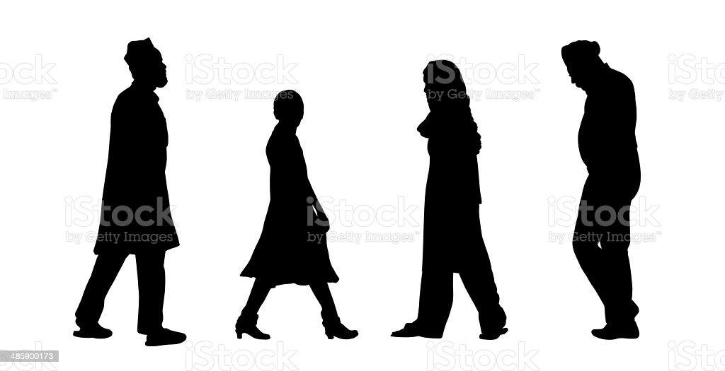 indian people walking silhouettes set 6 vector art illustration