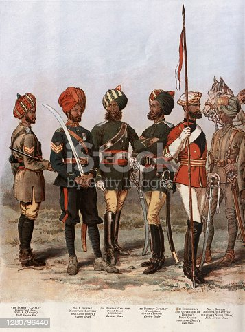 Vintage illustration of Military uniforms of the Bombay Army, 1888, 19th Century. 5th Bombay cavalry, sowar. No.1 Bombay Mountain Battery, havildar. 4th Bombay Cavalry, ressaldar. 4th Bombay cavalry, sowar.  His excellency the Governor of Bombay's body guard, daffadar. No 1 Bombay Mountain battery Jemadar