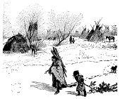 Illustration of a Indian village