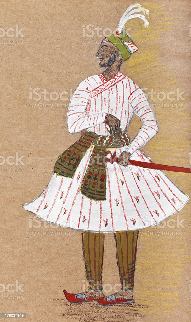 Indian warrior in traditional dress vector art illustration