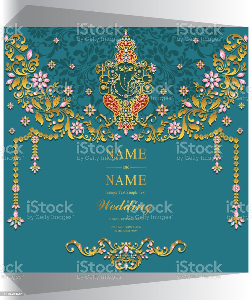 Indian wedding invitation card templates with ganesha gold patterned indian wedding invitation card templates with ganesha gold patterned and crystals on paper color background stopboris Image collections