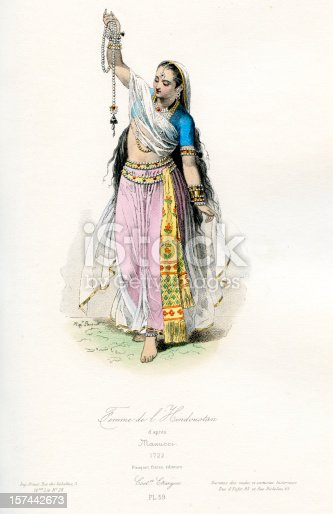 Vintage coloured engraving from 1875 showing the costume of an Indian Woman Traditional Costume in the 18th century  [b]View More:[/b] [url=http://www.istockphoto.com/file_search.php?action=file&lightboxID=6058311][img]http://www.walker1890.co.uk/istock/istock-hc.jpg[/img][/url][url=http://www.istockphoto.com/file_search.php?action=file&lightboxID=2789749][img]http://www.walker1890.co.uk/istock/istock-engraving.jpg[/img][/url]