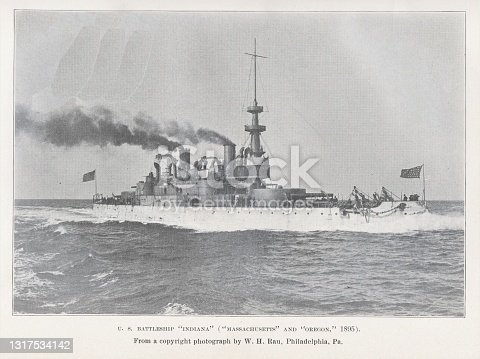 Armored steamship cruiser the USS Indiana , launched 1895, served in Spanish-American War. Illustration published in Steam Navy of the United States by Frank M. Bennett (Press of W.T. Nicholson: Pittsburgh) in 1896. Copyright expired; artwork is in Public Domain.