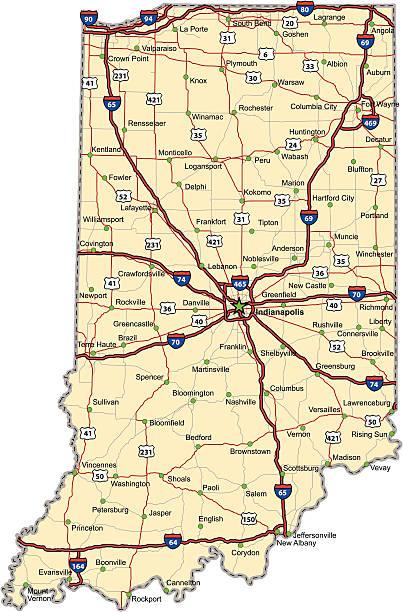 Indiana Highway Map vector art illustration