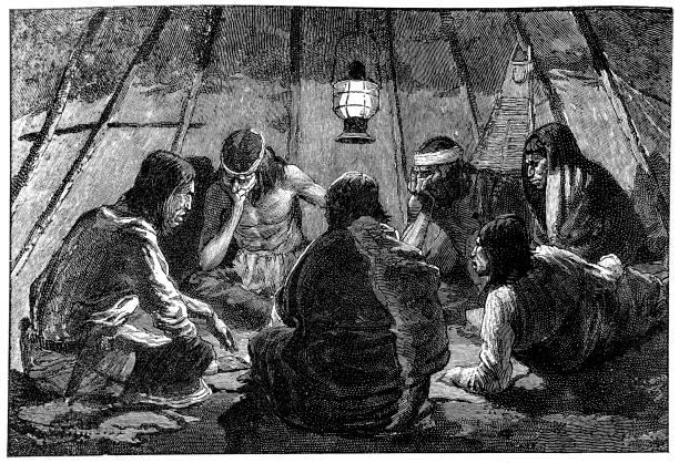 Índios do território Apache, jogando o jogo de azar Monte - ilustração de arte em vetor