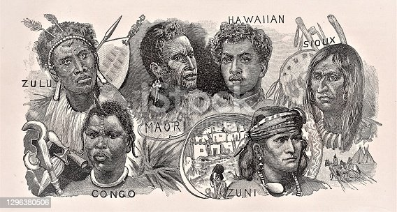 A group of indigenous people from the Africa, Pacific Islands, and North America. Color. Illustration published in Physical Geology by Mytton Maury (University Publishing Company, New York and New Orleans) in 1894. Copyright expired; artwork is in Public Domain. Digitally restored.