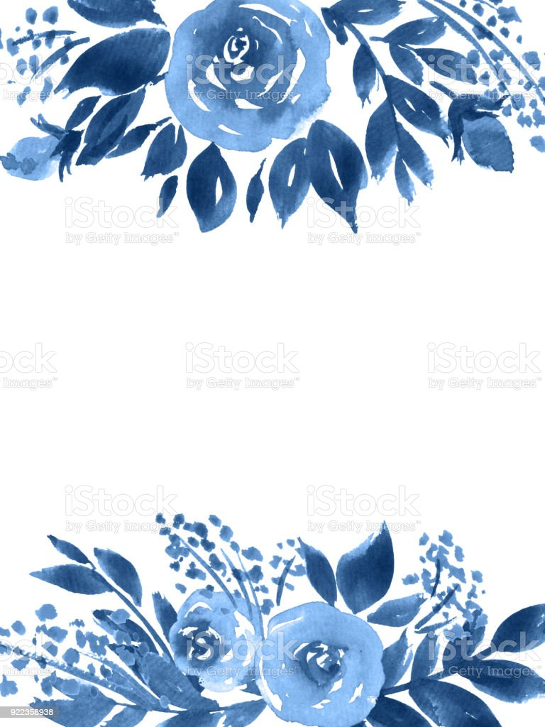 Indigo Blue Watercolor Flowers Hand Painted Greeting Card