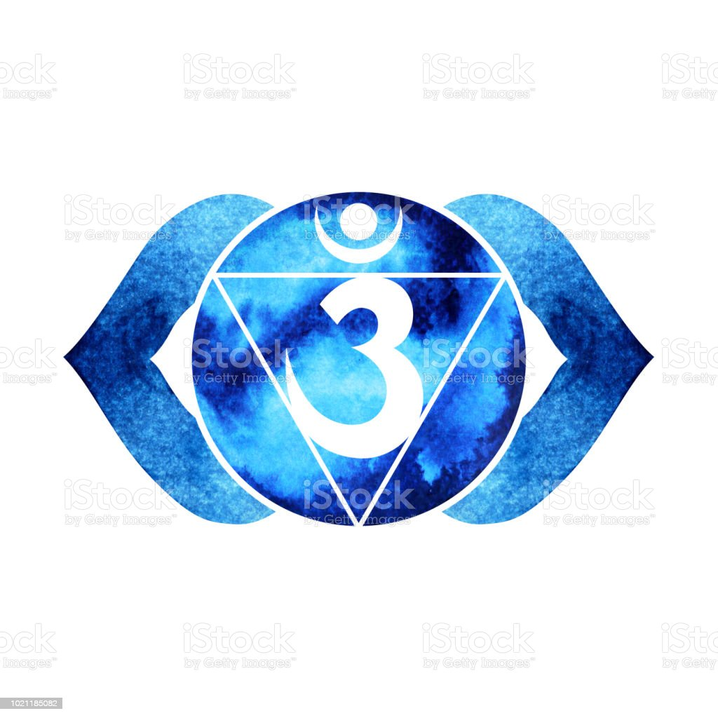 Indigo Color Of Chakra Symbol Third Eye Concept Flower Floral