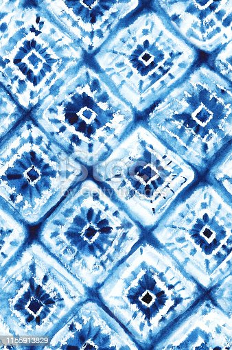 Seamless watercolor japanese indigo pattern in shibori style.