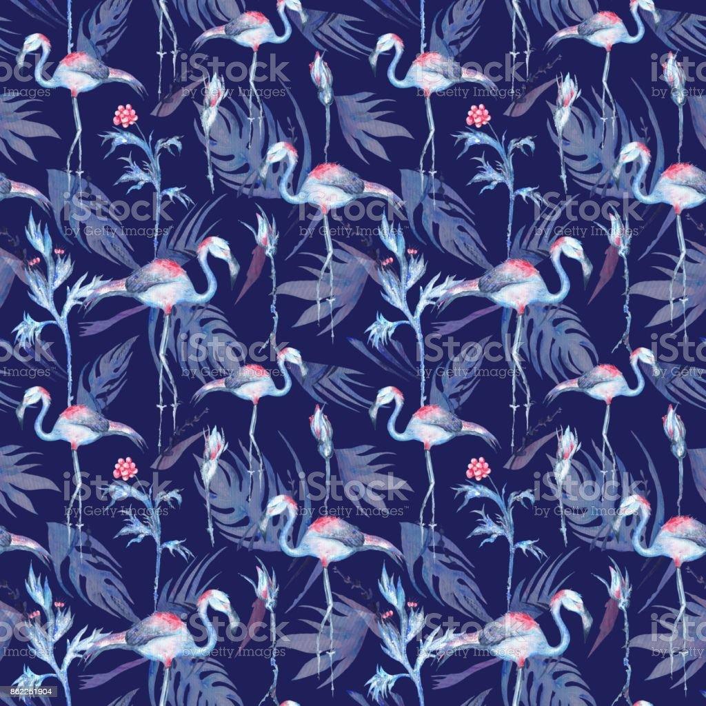 Indigo Tropical Pattern vector art illustration