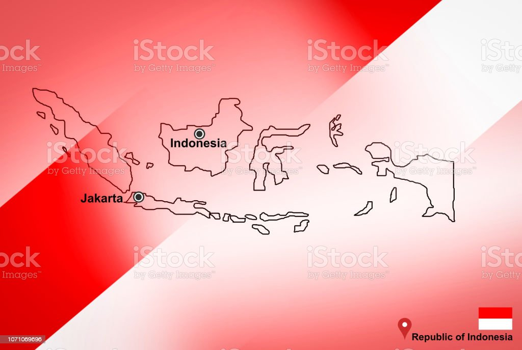 Indonesia map and Jakarta with location map pin and Indonesia flag on travel map of Asia - Republic of Indonesia vector art illustration