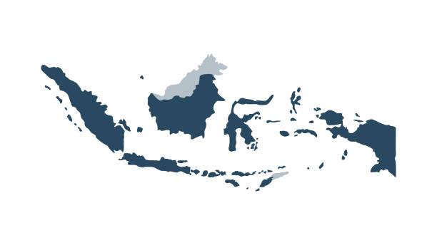 stockillustraties, clipart, cartoons en iconen met indonesië kaart - blauw - indonesische cultuur