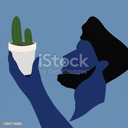 gardening, plant, plants, cactus, take care, tiny plant, man, woman, shade