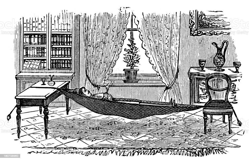 indoor hammock vector art illustration