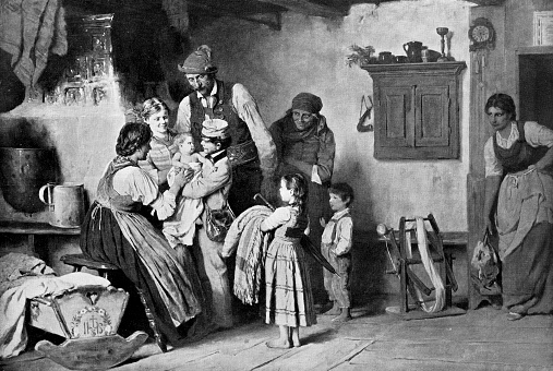 Indoor Scene with Family Gathering (originally entitled The Brothers) by Franz von Defregger (circa 19th century). Vintage etching circa late 19th century.
