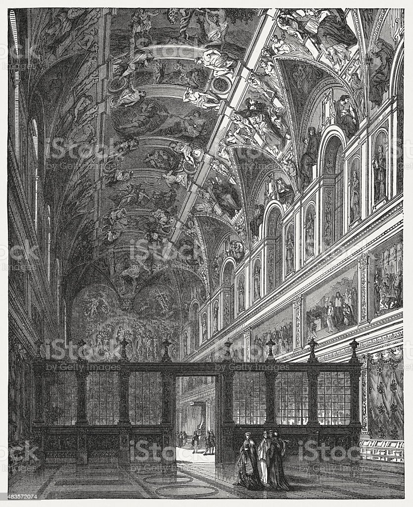 Indoor view of Sistine Chapel, Vatican, published in 1878 vector art illustration