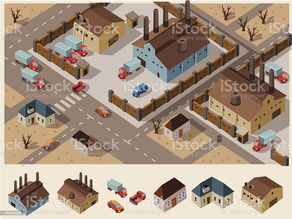 Industrial Area Isometric royalty-free stock vector art