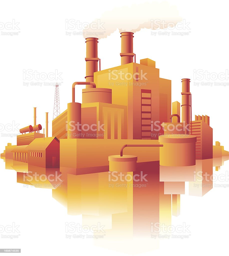 Industrial buildings in a city royalty-free stock vector art