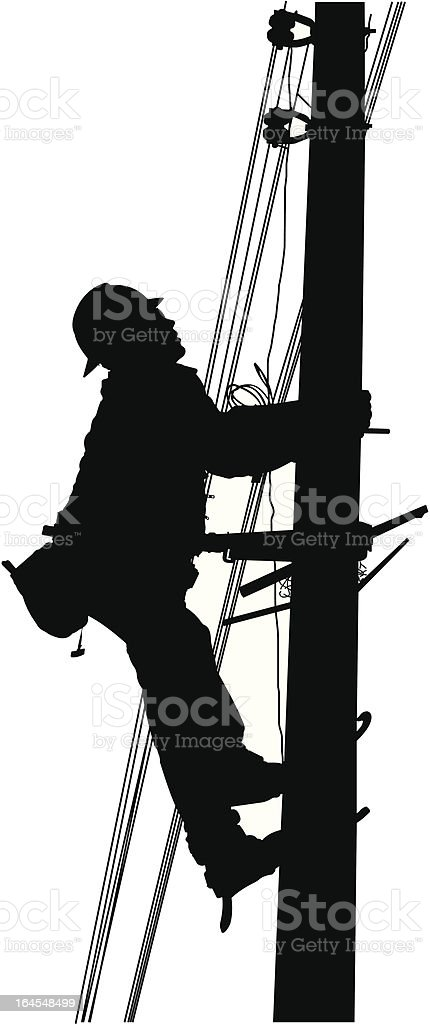 Industrial Electric Worker vector art illustration