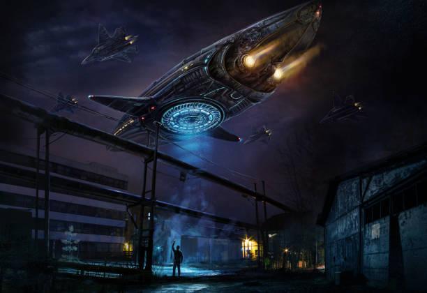 Industrial landscape with strange flying object vector art illustration