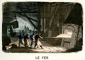 Victorian vintage engraving of workers in an iron foundry, France, 1875