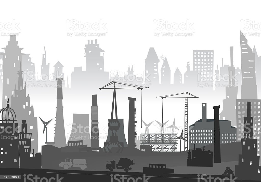 Industrial site view with cranes. Heavy industry background vector art illustration