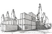Vector illustration of the industrial zone. In the style of drawing.