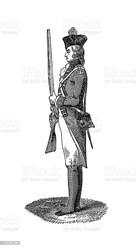 Infantryman at the time of George II | Historic Illustrations vector art illustration