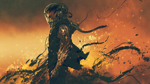 infected astronaut standing on fire vector art illustration