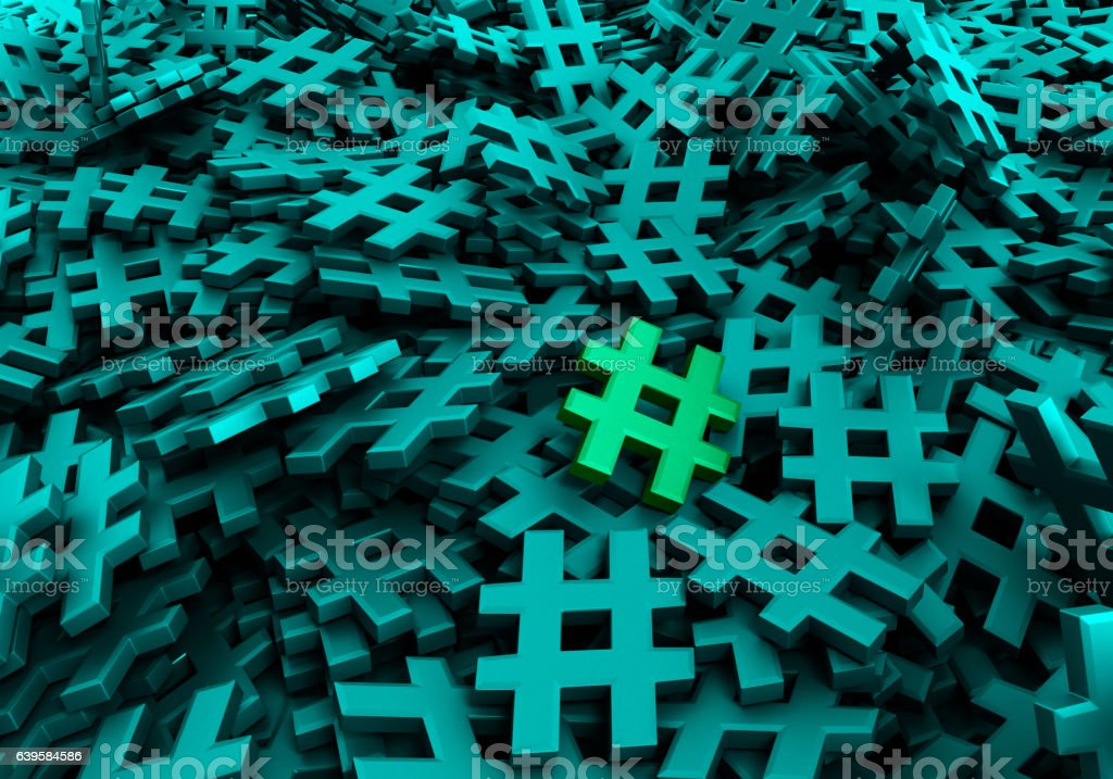 Infinite hashtags original 3d rendering image vector art illustration