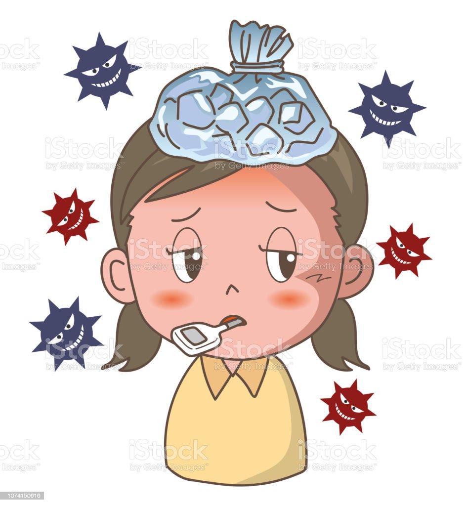 Influenza or bad cold - Girl image vector art illustration