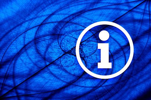 Info icon vortex spiral blue background illustration