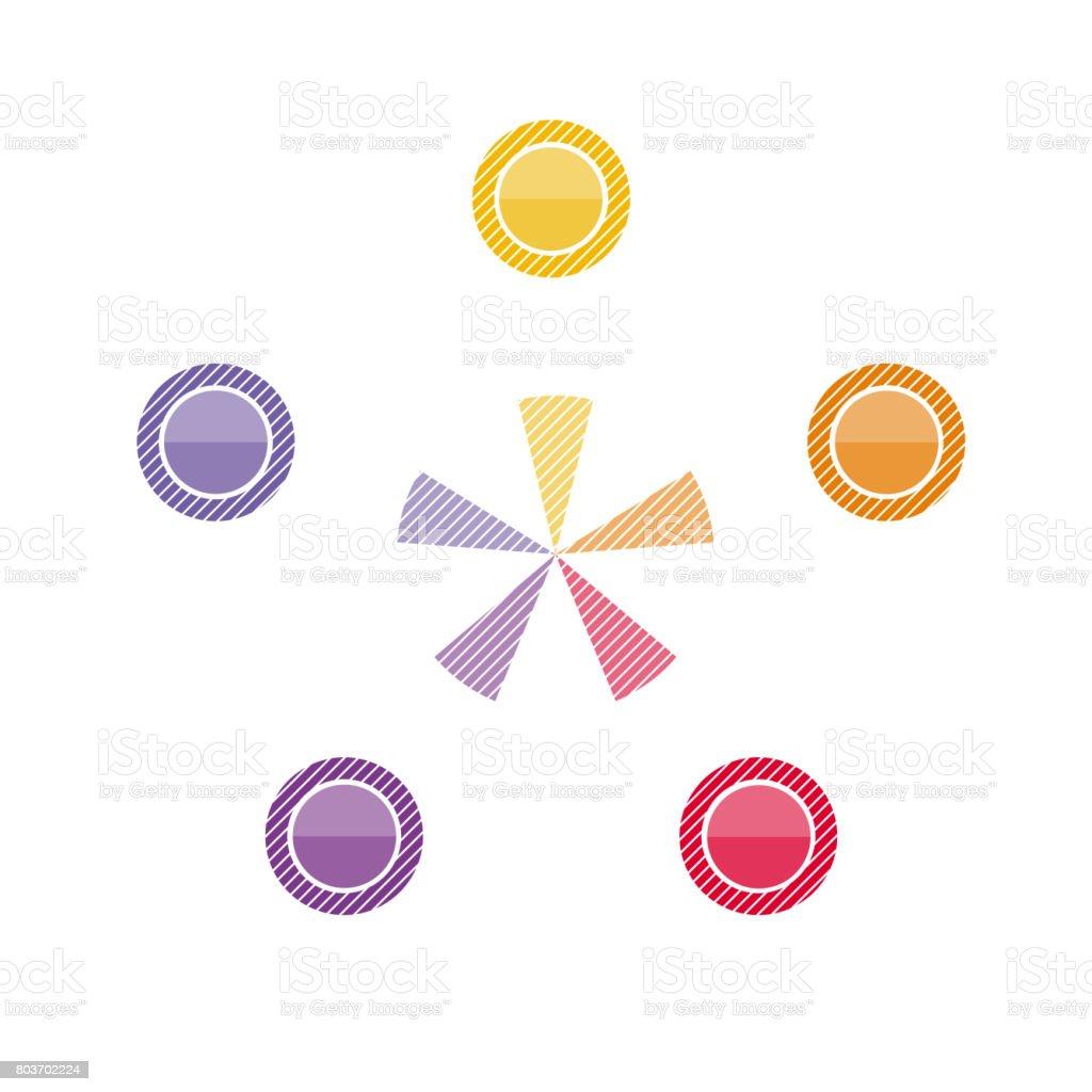 テキスト領域の位置のためのインフォ グラフィック円 つながりの