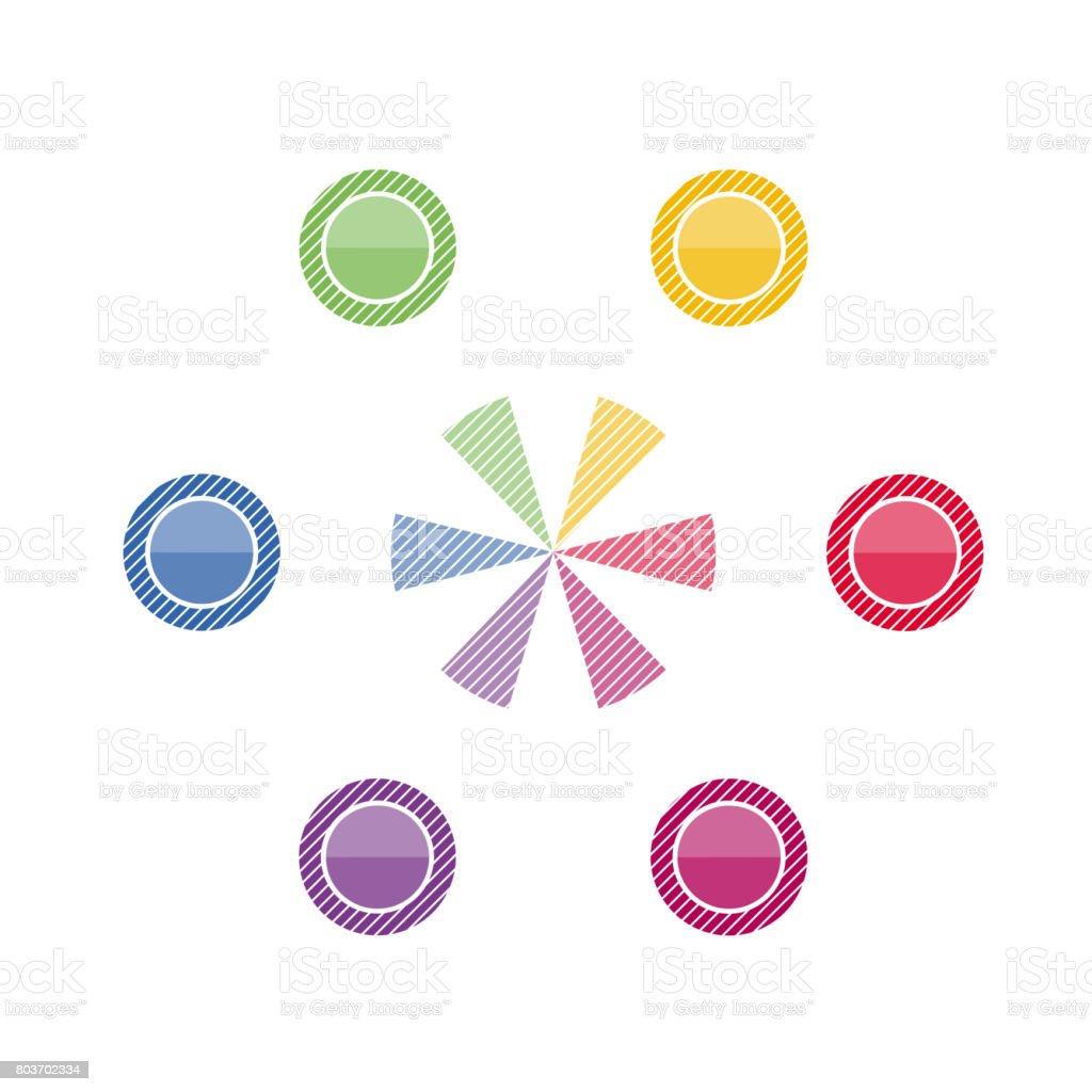 テキスト領域の位置のためのインフォ グラフィック円 のイラスト素材