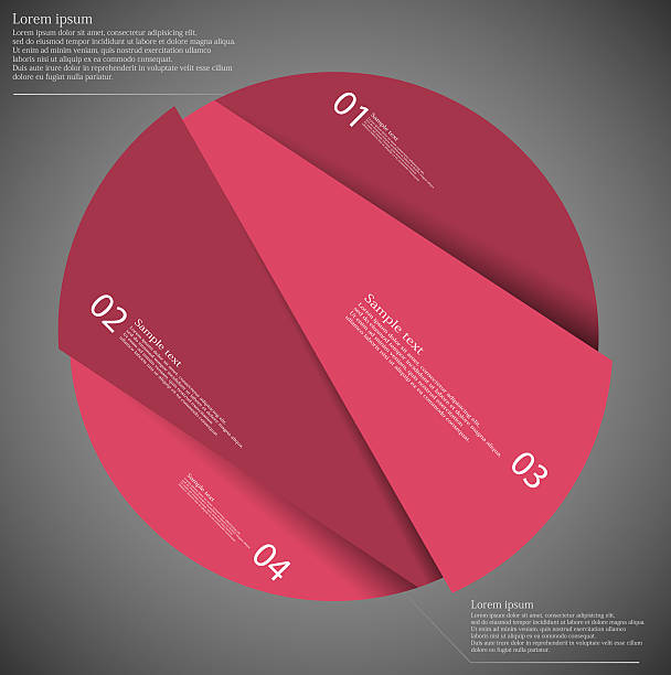 Infographic template of circle cut to four red parts vector art illustration