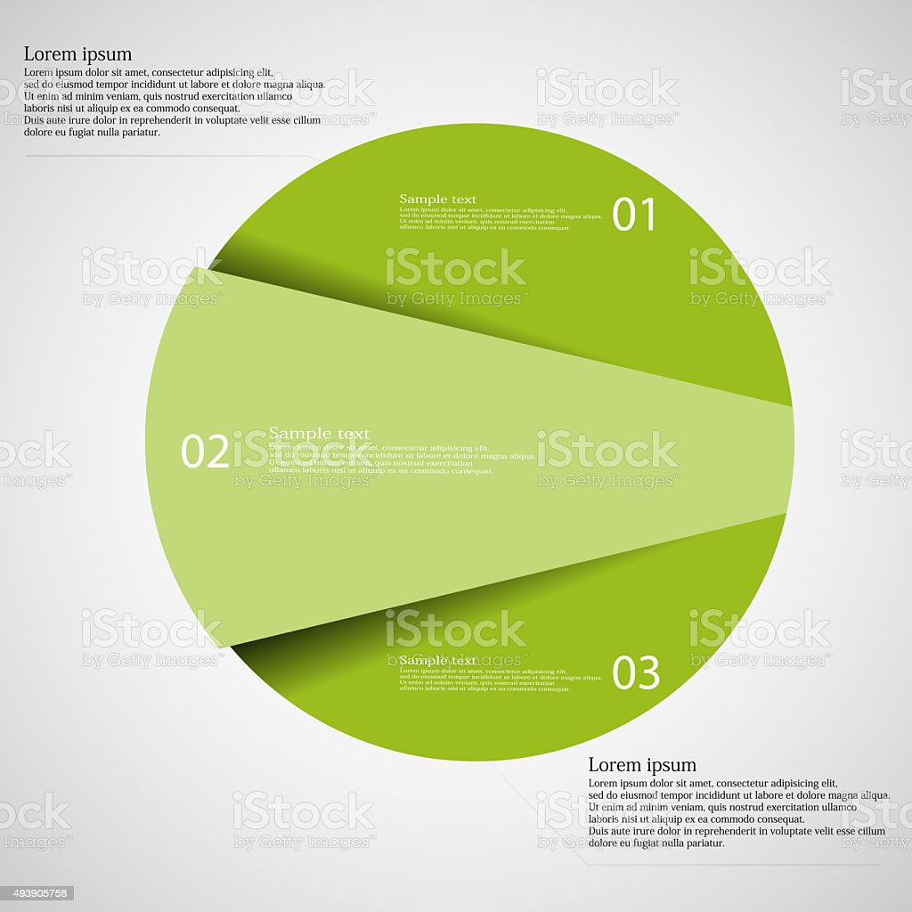 Infographic template of circle cut to three green parts vector art illustration