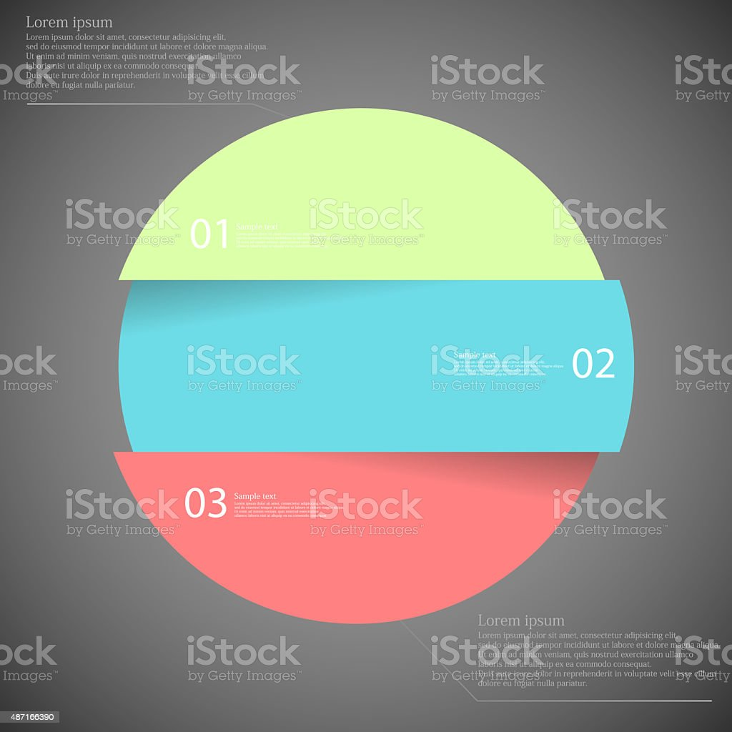 Infographic template with circle divided to three parts on dark vector art illustration