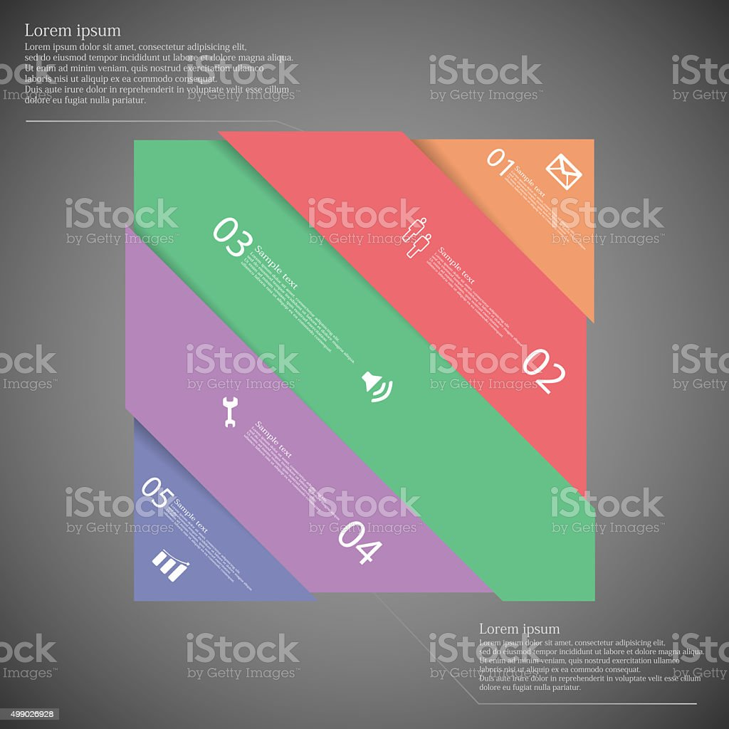 Infographic template with colorful rectangle askew divided to five parts vector art illustration