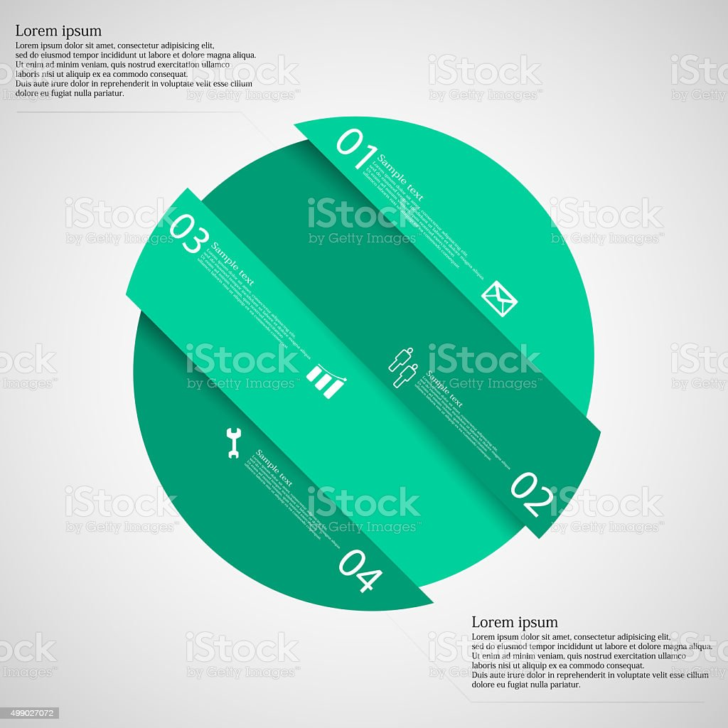 Infographic template with green circle askew divided to four parts vector art illustration