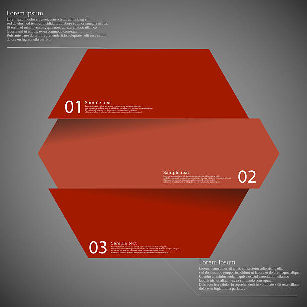 Infographic template with hexagon divided to three parts on dark vector art illustration