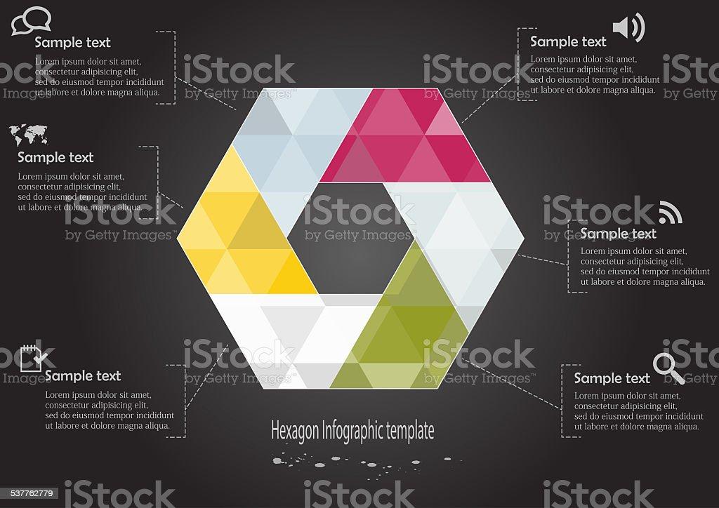 Infographic with hexagon motif vector art illustration