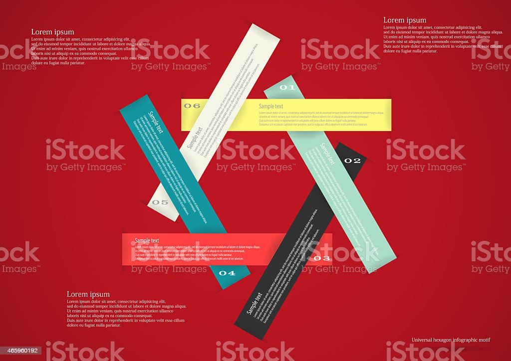 Infographic with six ribbons red vector art illustration