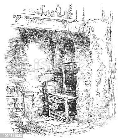 The inglenook/chimney corner at Shakespeare's home in Stratford-upon-Avon, Warwickshire, England. Vintage etching circa mid 19th century.