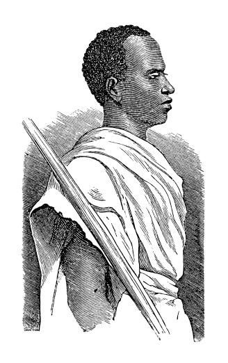 Inhabitant of Merca, East Africa (antique wood engraving)